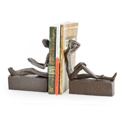 Danya B. ZI09013 Decorative Book Shelf Decor - Man and Woman Reading Metal Bookend Set