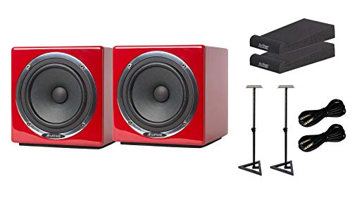 (Avantone Pro MixCubes 10th Anniversary Red Active Pair Bundle with Speaker Stands, Cables, Pads (5)