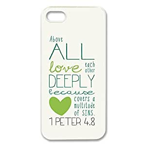 diycover iPhone 5 5S Case - Bible Verse 1 Peter 4.8 - New Style Durable Case Cover by Maris's Diary