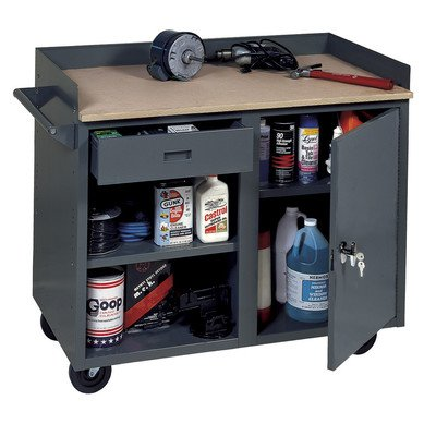 Edsal MB301 Heavy Duty One Piece Welded Mobile Service Bench with 1 Drawer and 1 Door, Steel, 800 lbs Capacity, 42'' Width x 34'' Height x 24'' Depth, Industrial Gray by EDSAL