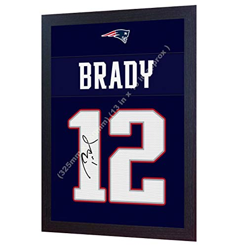 S&E DESING Tom Brady New England Patriots NFL Signed Autograph Printed on Canvas 100% Cotton Framed Print Autographed Photograph Poster Jersey Replica