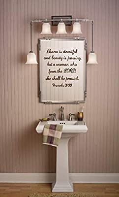 Amazon com: Vinyl Decal Proverbs 31:30 Charm is Deceitful and Beauty