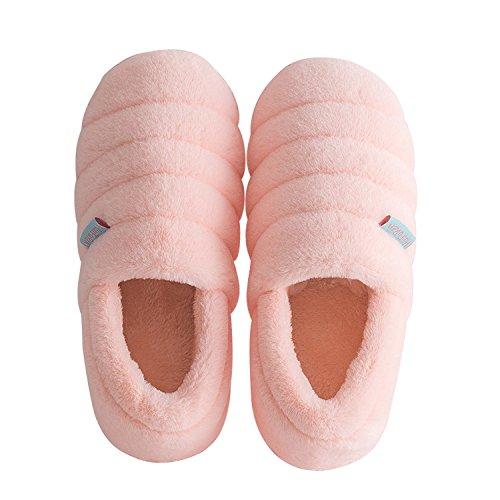 DANDANJIE Mujeres Lindas Zapatillas de Felpa de la Flor de algodón cálido Zapatillas Zapatillas Antideslizantes de otoño e Invierno Zapatos Zapatos caseros Rosado
