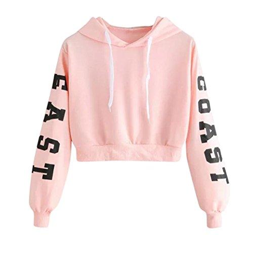 Ankola Cropped Hoodies, Women's 2017 Fashion Long Sleeve Patchwork Crop Top Sweatshirt (M, Pink(Letter Print))