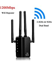 AC1200 Wifi Booster/Access point/WIFI Range Extender/Wireless Router Signal Amplifier Dual Band(2.4GHz 300Mbps+5GHz 867Mbps) with 4 External Antennas,2 Ethernet Port,WPS,LED