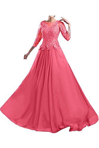 Ballkleider Wassermelon Brautmutterkleider Spitze Abschlussballkleider Abendkleider La Marie Langes Braut xqwAvw0Rz