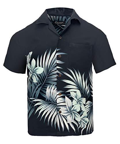Tropical Luau Beach Floral Print Men's Hawaiian Aloha Shirt (XXX-Large, Coconut Black/White)