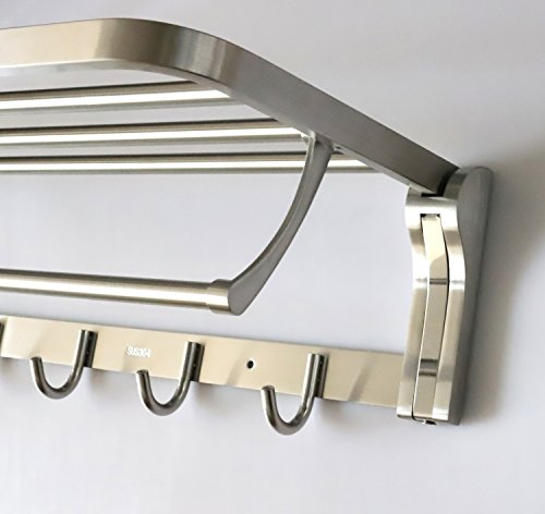 TOGU SUS 304 Stainless Steel 4 Racks Foldable Bathroom Shelf with Towel Bar, Heavy Duty Towel Shelves with 5 Hooks for Bathroom Lavatory,Brushed Stainless Steel Finish by Togu (Image #3)
