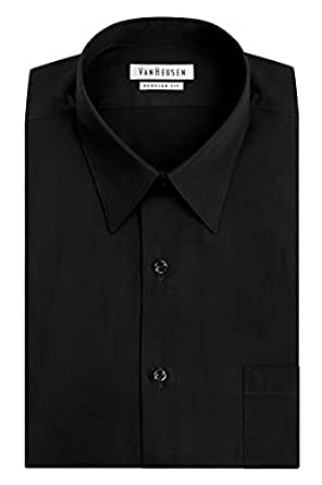 "Van Heusen Men's Poplin Regular Fit Solid Point Collar Dress Shirt, Black, 14"" Neck 32""-33"" Sleeve"