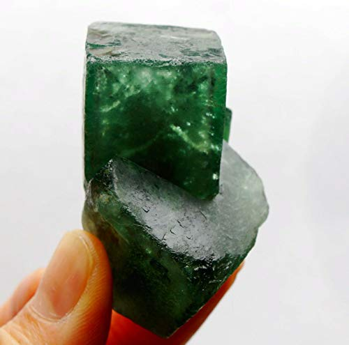 Rare 615ct 54mm Double Vivid Green Fluorite Cubes Cluster Natural Sparkling Translucent Gemstone Crystal Mineral Collectible Rough Cubic Geode Specimen - China