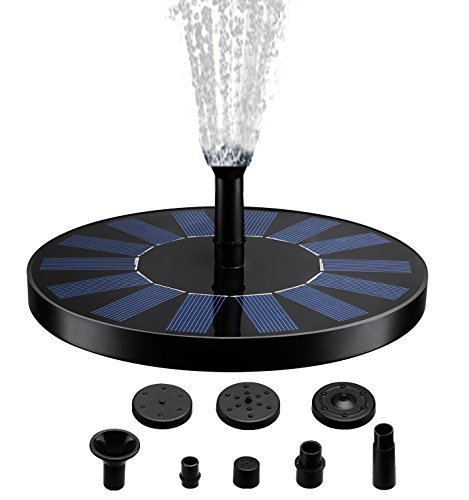 Solar Fountain Pump, Free Standing 1.4W Bird Bath Fountain Pump for Garden and Patio, Solar Panel Kit Water Pump by