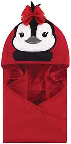 Hudson Baby Unisex Baby Animal Face Hooded Towel, Red Penguin 1-Pack, One Size