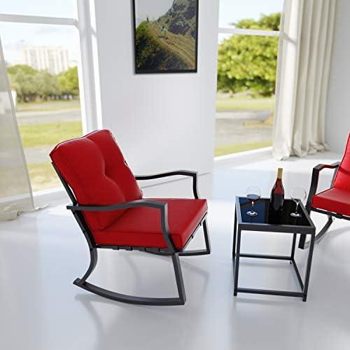Gotland 3 Piece Outdoor Rocking Chairs Patio Bistro Set Modern Patio Furniture Porch Armchair Conversation Set