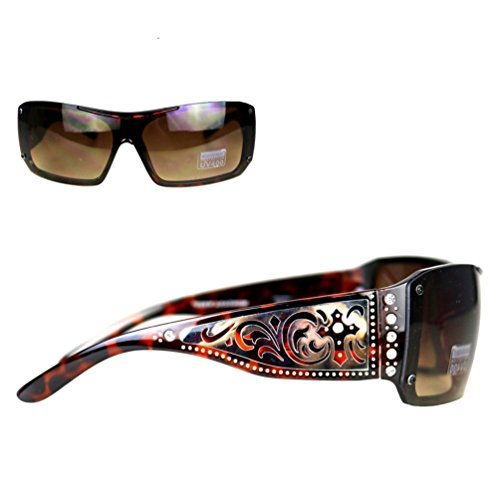 Western Sunglasses (Montana West Ladies Sunglasses Rhinestones Silver Scrolling & Cross Cutouts UV400, Leopard Frame Brown Lens)