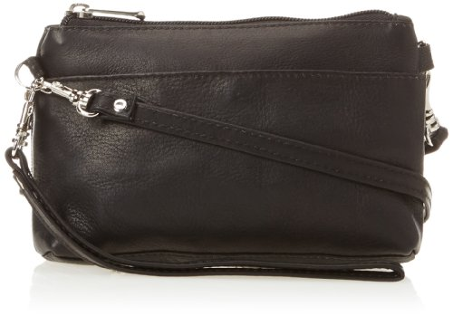 Piel Leather Shoulder Bag Wristlet, Black, One Size by Piel Leather