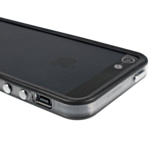 kwmobile 2in1 Set: TPU Silikon Bumper Hülle für Apple iPhone SE / 5 / 5S - Protection Rahmen Schutzhülle mit Aluknöpfen in Transparent + Folie, kristallklar