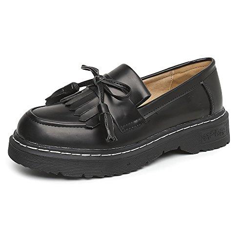 Meeshine Damen Leder Slip On Flache Halbschuhe Schuhe Fringe Low Heel Loafers Schuhe Schwarz 02