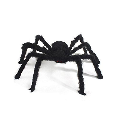 Dealglad New Realistic Fake Spider Plush Puppet Prank Jokes Toy Halloween Party Decorations Props (30cm, Black)