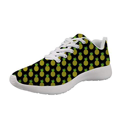 Showudesigns Women's Breathable Sports Running Shoes Pineapple Printing Teen Girls Casual Walking Sneaker