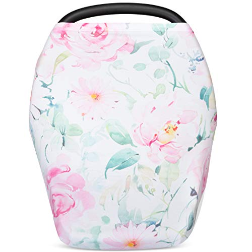 Premium Nursing Cover, Car Seat Canopy for Babies and Breastfeeding Scarf by Lallini - Multi-Use Infant Cover for Shopping Cart, High Chair and Stroller - Best Baby Shower Gift - Floral (Daisy)