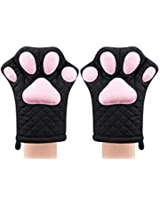 Oven Mitts,Cat Design Heat Resistant Cooking Glove Quilted Cotton Lining- Heat Resistant Pot Holder Gloves for Grilling & Baking Gloves BBQ Oven Gloves Kitchen Tools Gift Set BBQ,Microwave
