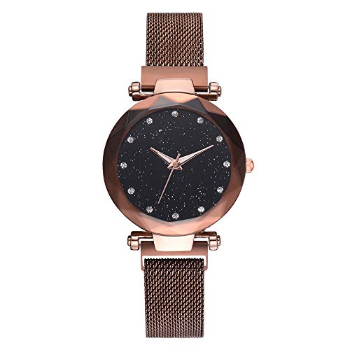 Women's Quartz Watch, Luxury Diamond Starry Sky Dial Analog Stainless Steel Mesh Band Wrist Watches (Brown, Free) (Best Guitar Amp Sim 2019)