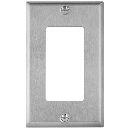 Stainless Steel Wall Plate - Enerlites 7731-STICKERED 1 Gang Stainless Steel Wall Plate for Decorator Switch, Outlet, GFCI Device