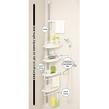 ALLZONE Constant Tension Corner Shower Caddy, Stainless Steel Brushed, Rustproof, Strong and Sturdy, White