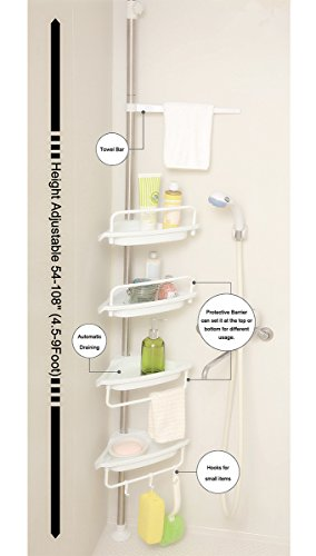 ALLZONE Constant Tension Corner Shower Caddy, Stainless Steel Brushed, Rustproof, Strong and Sturdy, White (Tension Tower)