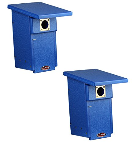 Kettle Moraine Recycled Eastern Bluebird House Nesting Box (2, Blue, Blue)