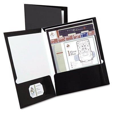 High Gloss Laminated Paperboard Folder, 100-Sheet Capacity, Black, 25/Box by Oxford (Image #1)