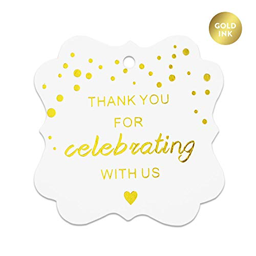 Paper Gift Tags,Thanks for Celebrating with Us Tags,Gold Foil Party Favor Tags, Perfect for Wedding,Baby Shower and Party Decoration,30-Pack 2 inch