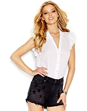 Guess Flutter-Sleeve Button-Front Blouse