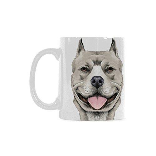 Artsadd Dog Lover Mug American Pit Bull Terrier 11 Ounce White Ceramic Coffee Tea Mug Cup ()