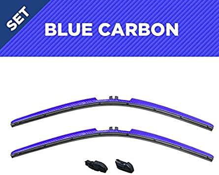 Jeep Wrangler Windshield Wipers All-Weather Design Blue Carbon Fiber Series 16-Inch Wiper Blades and Clips Compatible with Wrangler//Unlimited//Gladiator 2018-2020 Set of 2 Blade Accessories