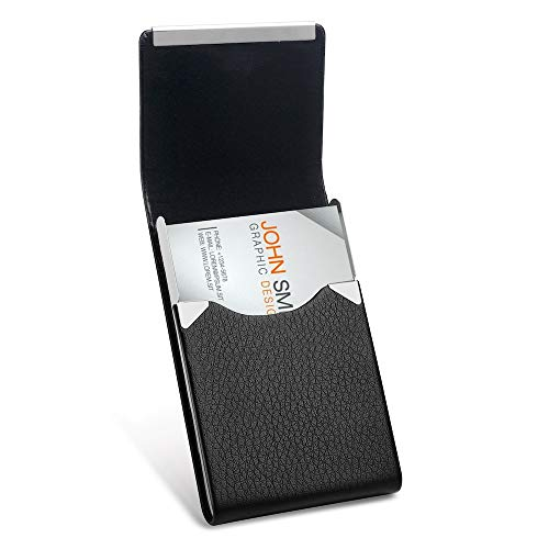 Leather Business Card Holder, Sooez PU Leather Business Card Case Name Card Holder Slim Business Card Carrier Metal Pocket Card Holder for Men with Magnetic Shut