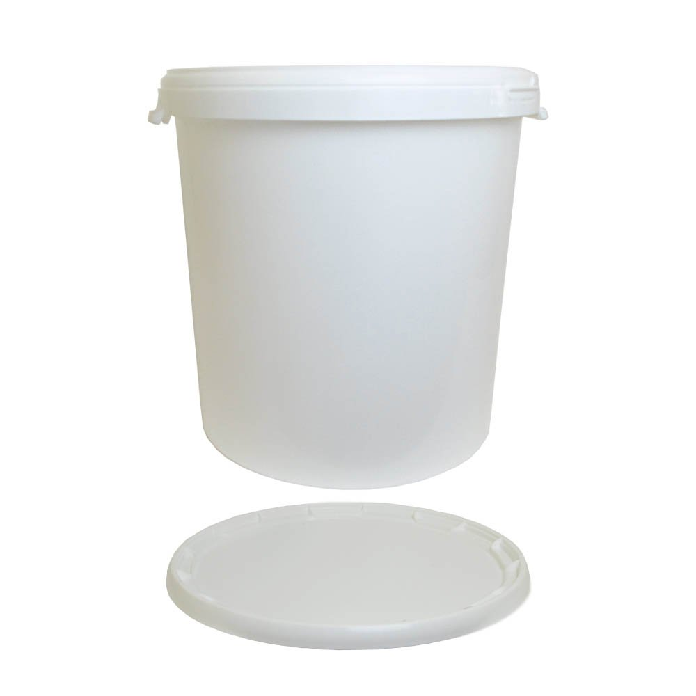 30 Litre Ltr L Plastic White Bucket with Lid and Built in HandleВ for Storage Food Grade Home Brew Kitchen Garden Oipps
