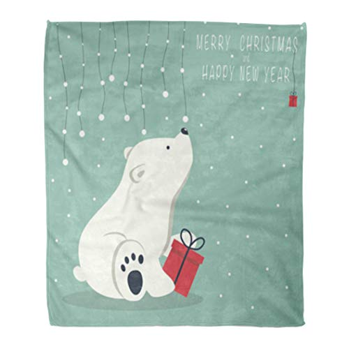 (Golee Throw Blanket The Depicts Seated Little Polar Bear Box Garland of Snow 50x60 Inches Warm Fuzzy Soft Blanket for Bed Sofa)