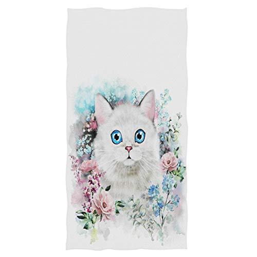 Wamika Cute Cat Hand Towels Ultra Soft Towel Flower Kitty Absorbent Kitchen Towel Guest Bath Towels Washcloth Multipurpose for Hand Face Gym Spa 16