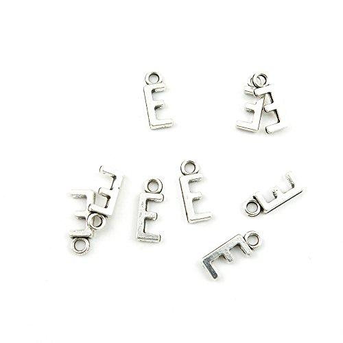 (165 Pieces Antique Silver Tone Jewelry Making Charms Findings Fashion Wholesale Supplies Pendant Lots Bulk Supply P8GK8Z Alphabet Letter E)