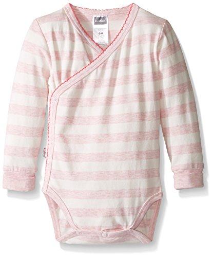 Kushies Baby Girls' Mix N Match Bodysuit Long Sleeve, Light Pink Stripe/Heather, 03M