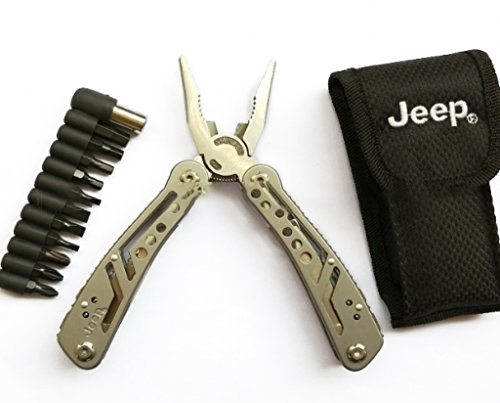 Jeep Multi Tool Set 12-in-1 Multifunction With 12 Screwdriver Pliers, Bottle Opener, Knife Blade, Screwdriver, Saw, Ideal for Outdoor, Survival, Camping, Survival Emergency Gear by Campology