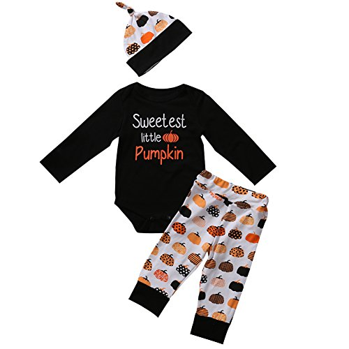 3Pcs Cute Infant Baby Girl Boy Halloween Clothes Long Sleeve Pumpkin Romper with Hat and Pants Outfits Set (0-6 Months, (Baby Pumpkin Halloween Outfits)
