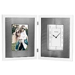 Bulova B1243 Dedication Picture Frame Clock, Gloss White