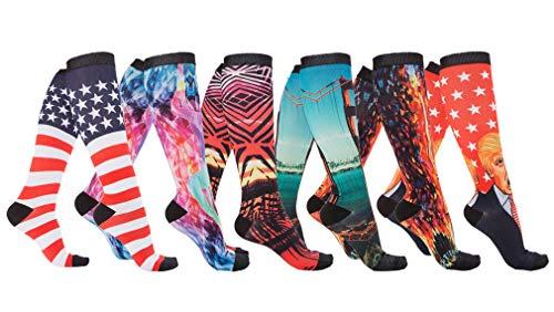 - 6 Pairs Women's Graduated Compression Printing Trouser Socks 8-15mmHg (621C)