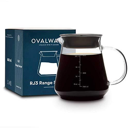Glass Range Coffee Server For Pour Over Coffee & Tea - 600ml/20oz Ovalware Microwave Safe & Heatproof 2.5mm Thick Glass Body
