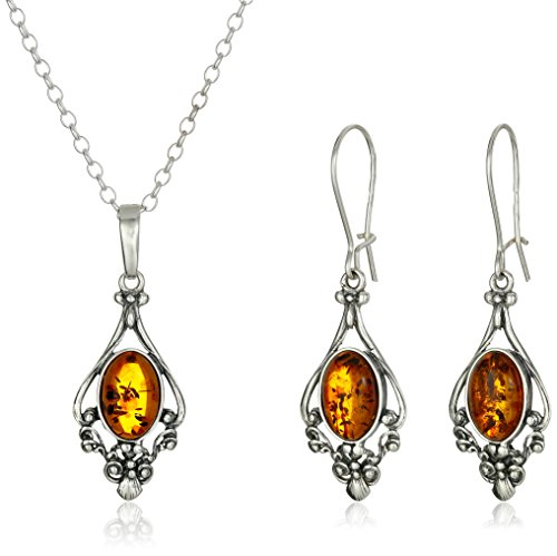 Amber Sterling Silver Dangling Style Filigree Pendant Necklace and Earrings Set, 18