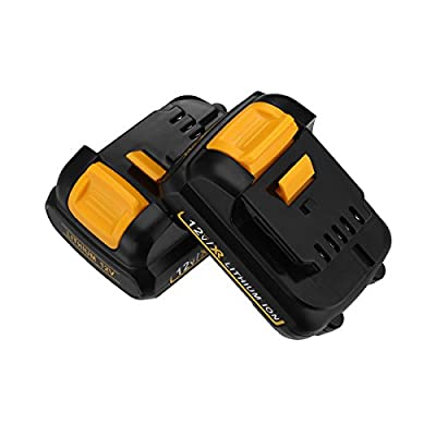 Powerextra Improved Capacity 4000mAh 12V Replacement Battery for Dewalt Lithium-Ion Battery Pack Dewalt DCB120 Dewalt DCB127 Dewalt 12 Volt Lithium ion Battery ( 2 Pack )