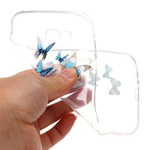 CaseHome Samsung Galaxy A7 2017/A720F gel de Silicona TPU Funda (Con Gratis Lápiz táctil) Guay ModaVistosoPatrónDiseñoCristalClaro Ultra FinoTransparenteEncaja PerfectoFlexibleSuaveCauchoPa Azul Mariposa