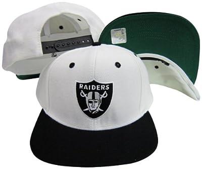 Reebok Oakland Raiders Logo White/Black Two Tone Plastic Snapback Adjustable Plastic Snap Back Hat/Cap